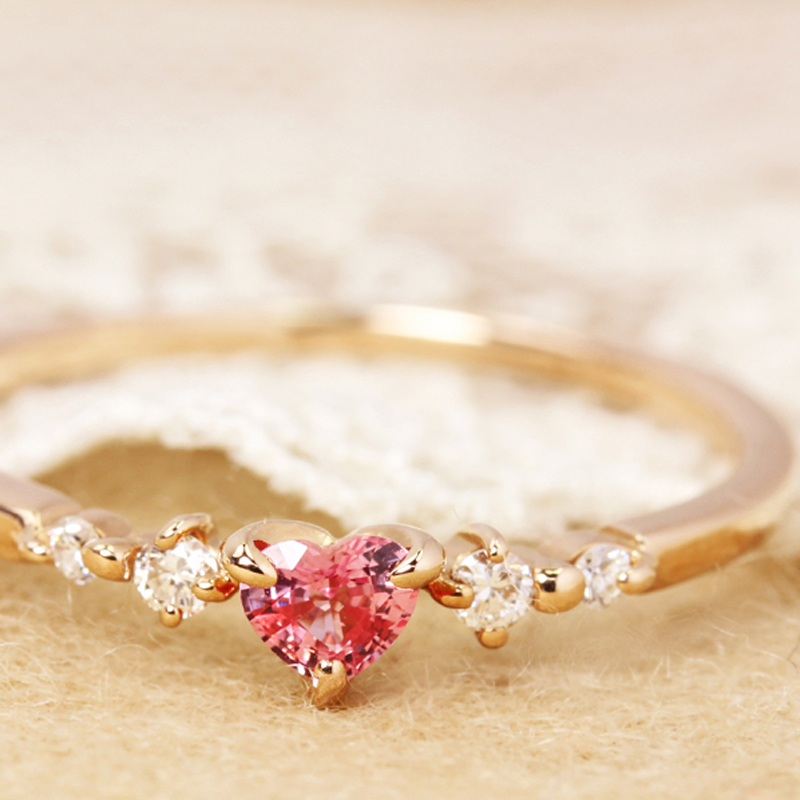 パパラチアサファイア×ダイヤモンド K18リング・ルナクール