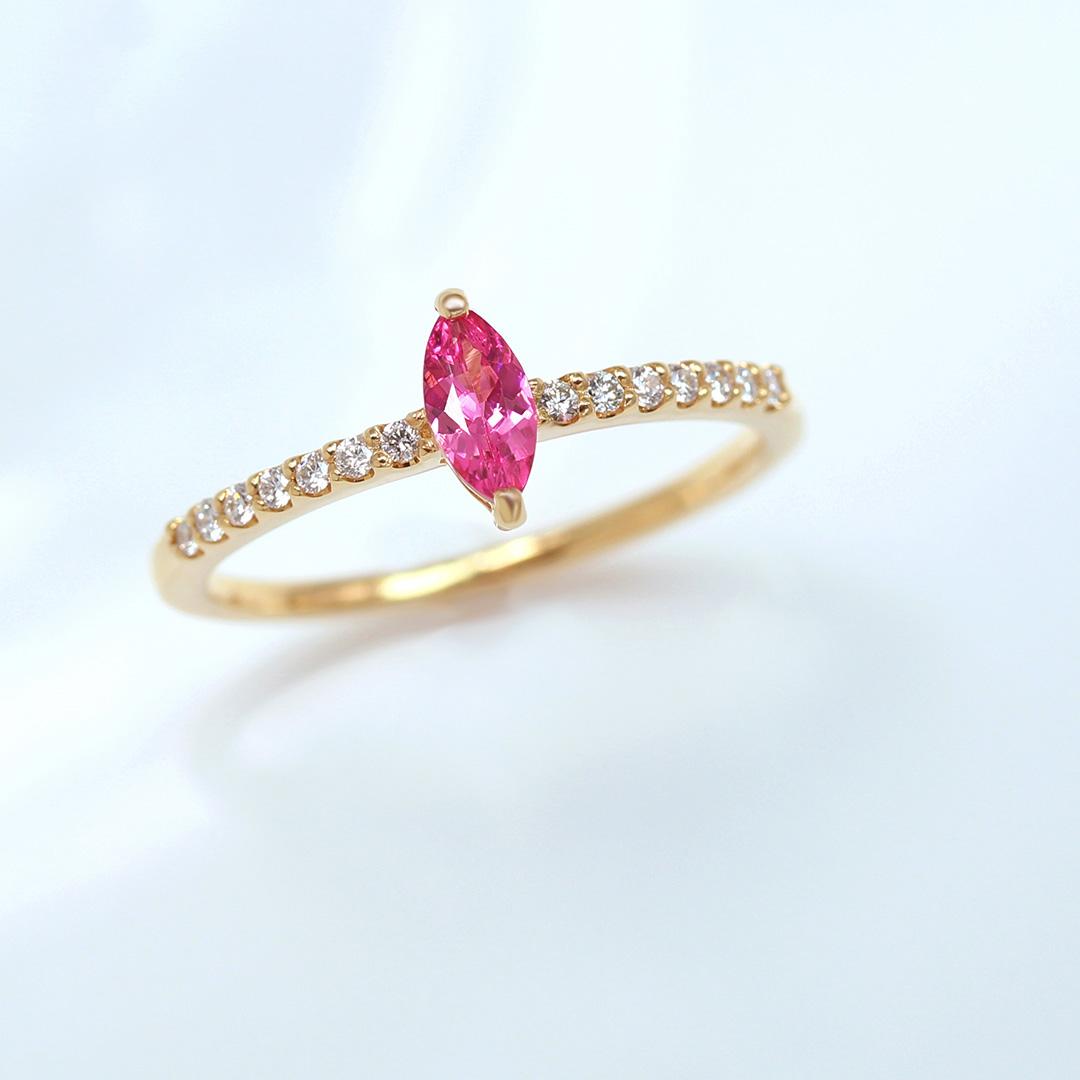 ネオンピンクスピネル(タンザニア産)×ダイヤモンドK18/PTリング・ディアーヌ