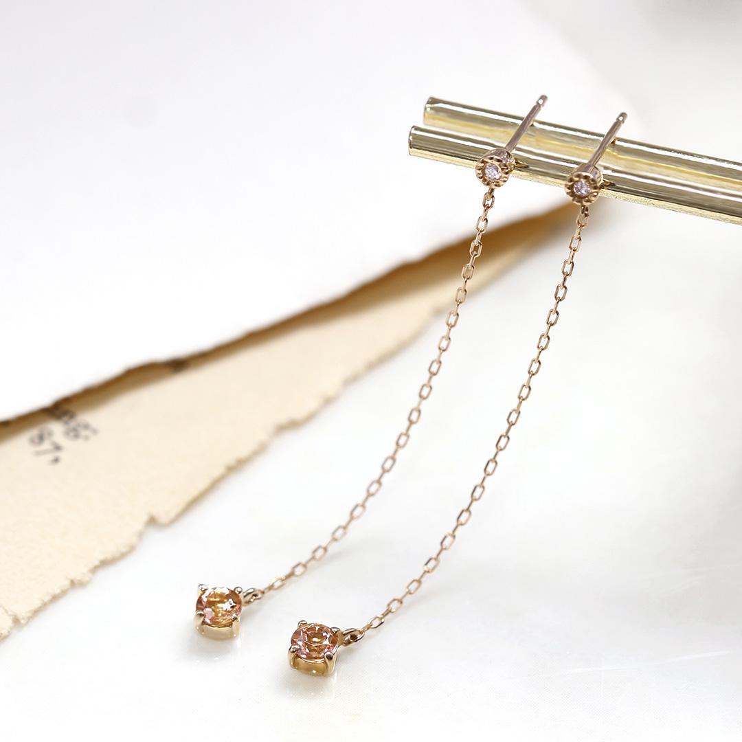 インペリアルトパーズ(ブラジル産)×ダイヤモンドK18ピアス・アリゼ