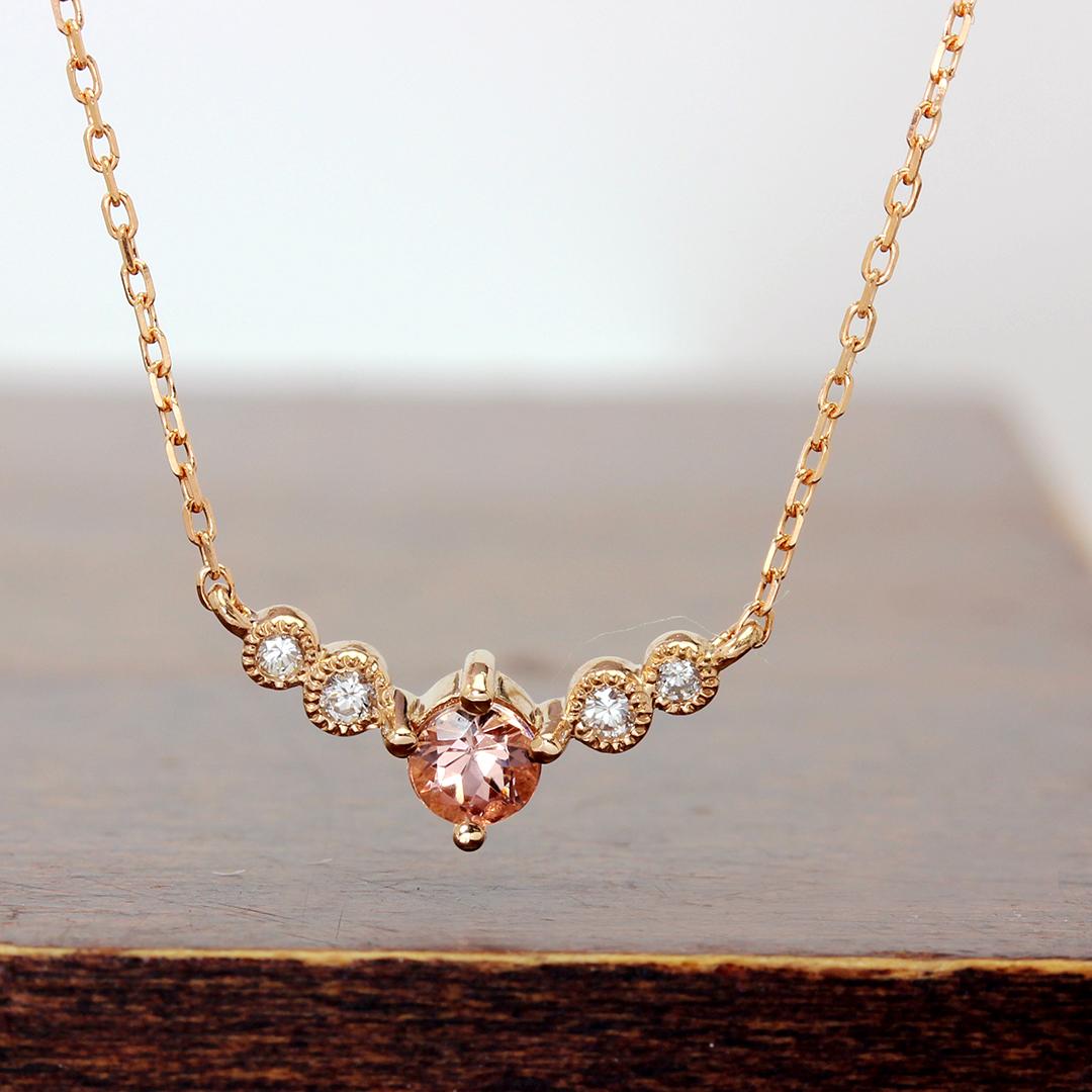 インペリアルトパーズ(ブラジル産)×ダイヤモンドK18ネックレス・フランシーネ
